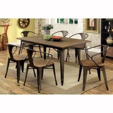 furniture of america cooper natural elm dining set with rectangular dining table