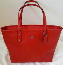 Coach Crossgrain Leather City Zip Orange Red Handbag Tote SALE!!!F58846