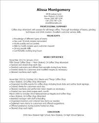 Resume Templates: Coffee Shop Attendant
