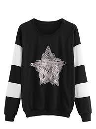 Romwe Womens Cut And Sew Geometric Star Print Long Sleeve Sweatshirt