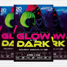 glow flyer glow in the dark premium flyer template facebook cover