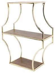 liara floating 3 shelves walnut wood and gold