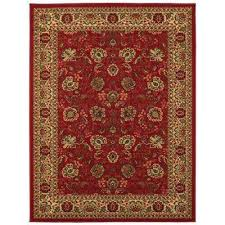 ottohome collection traditional fl design dark red 3 ft x 5 ft area rug