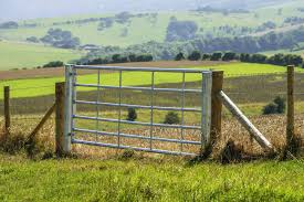 farm fence gate. A Large Aluminum Farm Gate Enough For Vehicles Or Animals To Pass Through. Fence O