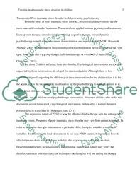 treatment of post traumatic stress disorder in children using related essays post traumatic stress disorder