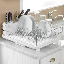 Dish Rack Design on White Marble Countertop and kitchen Cabinet design