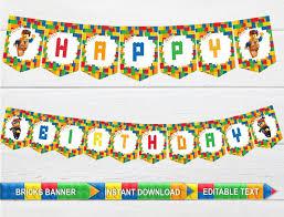 Instant Download Editable Banner Printable Banner Lego Banners Bricks Movie 2 Birthday Printable Garland Bricks Movie 2 Decorations Emmet Lucy