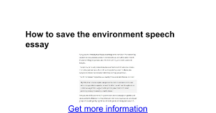 how to save the environment speech essay google docs