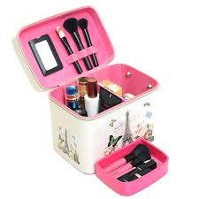 small makeup box brand leather cosmetics bag large capacity landscape pattern storage box make up makeup small makeup box