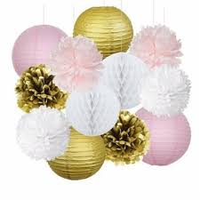 Party Decorations Tissue Paper Balls Eastern Hope 100pcs Pink Gold Party Decorations Tissue Paper Pom 73