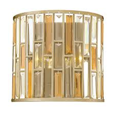 gemma wall light in a silver leaf finish with amber pearl and clear crystal prisms hinkley hk gemma2 a sl