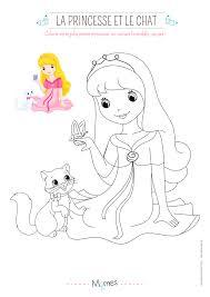 Coloriage La Princesse Et Le Petit Chat Avec Mod Le Momes Net