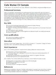 Experience Based Resume Template Cafe Worker Sample Experience Based