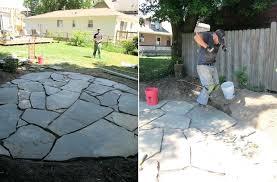 diy flagstone walkway with concrete patio sand stone laying flagstone walkway in concrete diy
