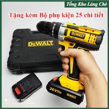 Máy khoan pin Dewalt 26V - 3 CHỨC NĂNG: Khoan tường, săt, gỗ - Bắt vít -  Bắn tôn - Tặng kèm Bộ phụ kiện 25 chi tiết tại Bắc Ninh