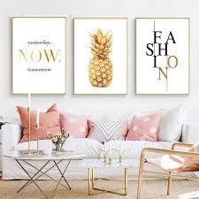 Nordic Canvas Painting Pineapple Gold Quotes Posters And Prints Minimalist Wall Art Picture For Living Room Modern Home Decor