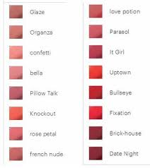Glo Minerals Colour Chart Gloskin Beauty Glominerals Lip Stick