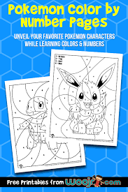 1476702 3d models found related to pokemon pictures to colour and print. Pokemon Color By Number Pages Woo Jr Kids Activities
