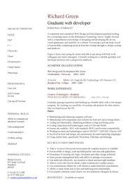 Graduate web developer CV sample, developing websites, IT support, curriculum  vitae