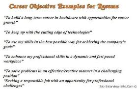 Sample Career Objectives Examples For Resumes Resume Examples
