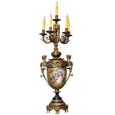 monumental french sèvres cobalt blue porcelain bronze urn candelabra table lamp 1