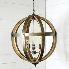 metal and wood 3 light orb chandelier