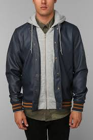 lyst urban outers obey vegan leather varsity jacket in blue