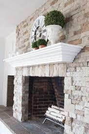 Mantel On Stone Fireplace White Washed Stone Fireplace Stone Fireplaces Stone And Light