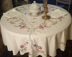large round tablecloth made by hand in cross stitch embroidery and crochet 8 large napkins