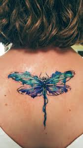 Watercolor Dragonfly Tattoo On Girls Back