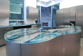 modern kitchen counter. Stunningly Beautiful Blue Glass Modern Kitchen Countertop In An Ultra With Stainless Steel Cabinets Counter O