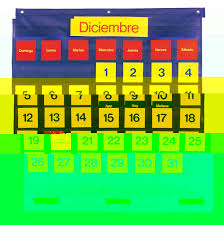 Classroom Calendar Pocket Chart Learning Resources Bilingual Monthly Calendar Pocket Chart 28 X 25 1 2 Inches