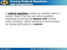 8 8 solving radical equations and