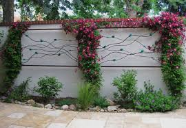 gardens house patio wall art forged iron flowers theme blue colors special materials photos on exterior wall decorations