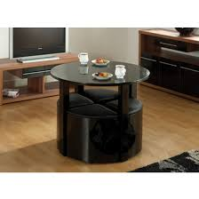 stefan stowaway black gloss round dining table and 4 black stool 1