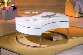 Table Basse Design Blanc Laque Pivotante