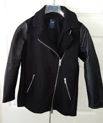 nwt new gap womens black leather moto jacket coat pxs xs petite