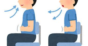 椅子に座った腹式呼吸のイラスト(男性) | かわいいフリー素材集 いらすとや