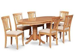 east west 7pc dining set vancouver oval table 6 avon padded chairs light oak