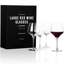 Buy Andrew James Set Of 4 Xl Illustro Crystal Red Wine Glasses 840ml