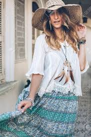 fashion wearing bohemian clothing posing in the old city street boho chic fashion style