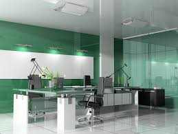 Office:Captivating Modern Office Color Ideas With Green Gloss Wall Painte  Also White Ceramic Flooring