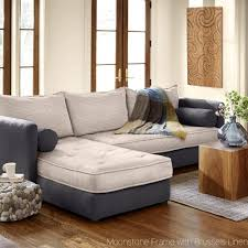 eco linen sectional sleeper sofa with chaise lounge vivaterra for eco friendly sectional sofa