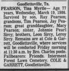 Tina Myrtle Pearson Obituary - Newspapers.com