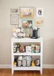 bookshelf coffee station