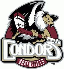 bakersfield condors primary logo a condor perched on a hockey stick inside a green circle