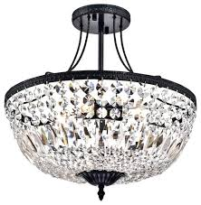 semi flush mount crystal chandelier with stained