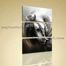 large vertical painting hd giclee print black white horse 3 pieces wall art