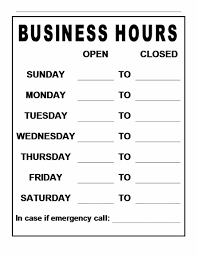 Microsoft Business Hours Template Hours Of Operation Template