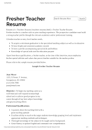 Free Preschool Teacher Resume With No Experience Templates At